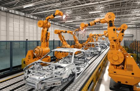 자동차 공장에서 3d 렌더링 로봇 조립 라인 스톡 콘텐츠