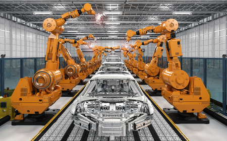 3d rendering robot assembly line in car factory Stok Fotoğraf - 85324666
