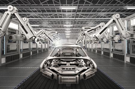 Ensemble de montage de robot de rendu 3D dans l'usine de voiture