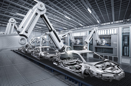 自動車工場の 3 d レンダリング ロボット組立ライン