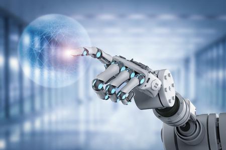 3d rendering robot working with virtual display 免版税图像 - 86944701