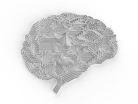 3d 렌더링 인공 지능 뇌 또는 회로 보드에 두뇌 모양