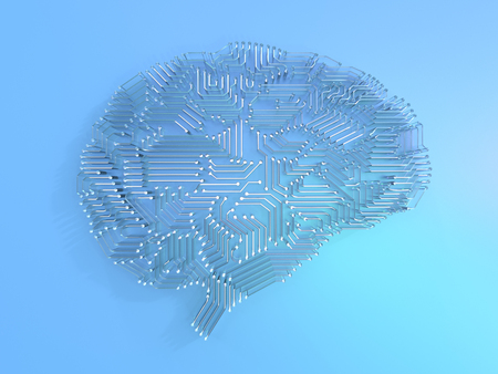 3d rendering artificial intelligence brain or circuit board in brain shape