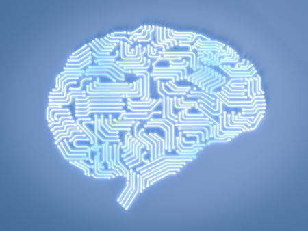 3d 렌더링 인공 지능 뇌 또는 회로 보드에 두뇌 모양 스톡 콘텐츠 - 87331552