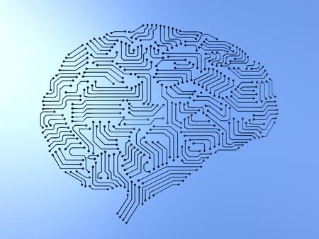 3d 렌더링 인공 지능 뇌 또는 회로 보드에 두뇌 모양 스톡 콘텐츠 - 87844294