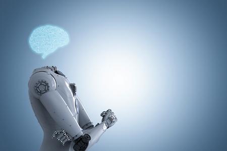 3d rendering artificial intelligence brain or ai brain