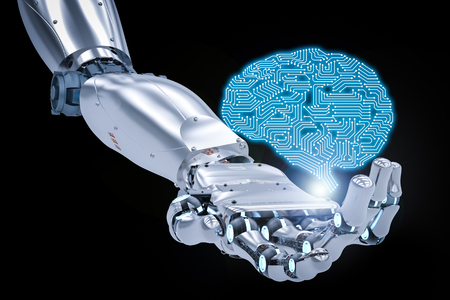 3d rendering robotic hand working with ai brain
