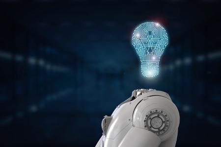 processors: 3d rendering artificial intelligence idea with digital lightbulb