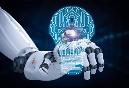 3D-rendering robot hand met printplaat in gloeilamp vorm Stockfoto