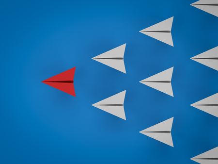 리더십 개념에 대 한 3d 렌더링 종이 비행기