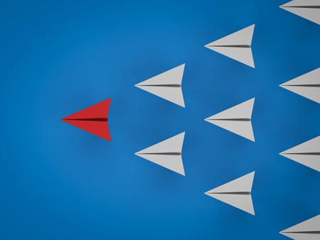 3D-rendering papier vliegtuigen voor leiderschap concept