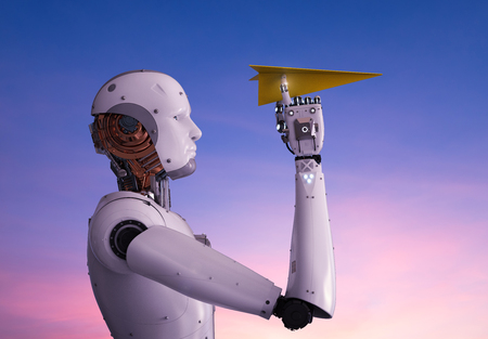 3d rendering humanoid robot holding paper plane