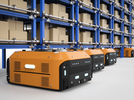 lading: 3d rendering warehouse robot assembly in factory Stock Photo