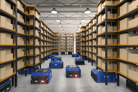 공장에서 3d 렌더링웨어 하우스 로봇 어셈블리