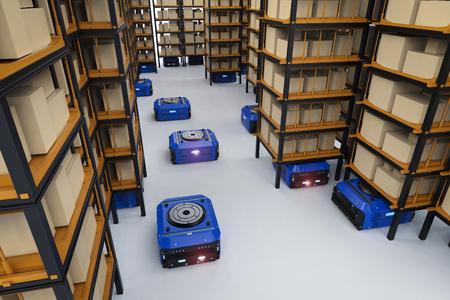 3d teruggevende assemblage van de pakhuisrobot in fabriek