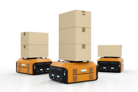 3d rendu entrepôt robot boîtes boîtes sur fond blanc Banque d'images - 88079355