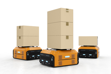 3d rendering warehouse robot carry boxes on white background