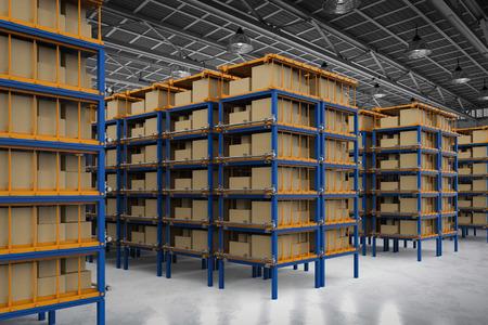 3d rendering racks full of carton boxes in warehouse Reklamní fotografie - 87934072