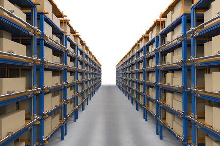 3D-rendering rekken vol met kartonnen dozen in magazijn