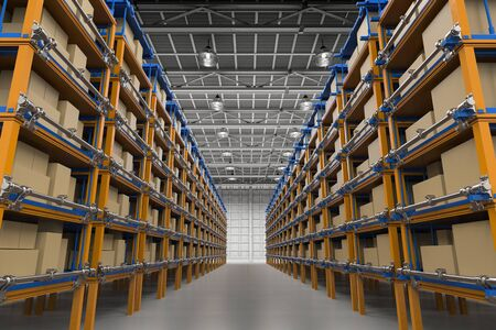 3d rendering racks full of carton boxes in warehouse