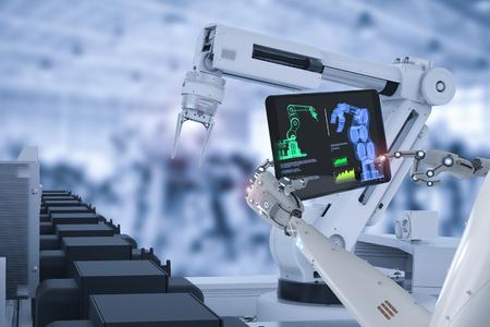 3d que representa la línea de montaje del robot del control del cyborg en fábrica del coche Foto de archivo