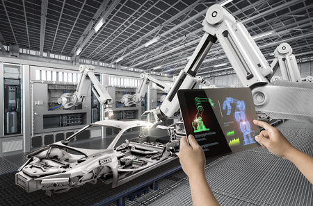 human control 3d rendering warehouse robot working in factory