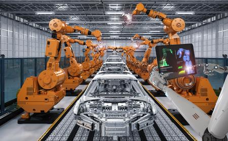 3d 렌더링 자동차 공장에서 사이보그 제어 로봇 조립 라인 스톡 콘텐츠