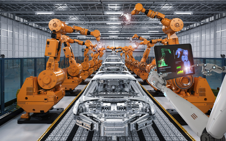 3d rendering cyborg control robot assembly line in car factory Foto de archivo
