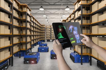 工場で働くヒューマンコントロール3Dレンダリング倉庫ロボット 写真素材
