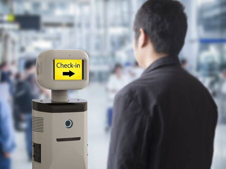 automate: 3d rendering assistant robot with digital screen in airport