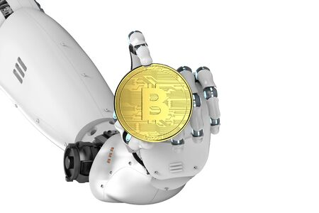 arms trade: 3d rendering robotic hand holding gold bitcoin Stock Photo