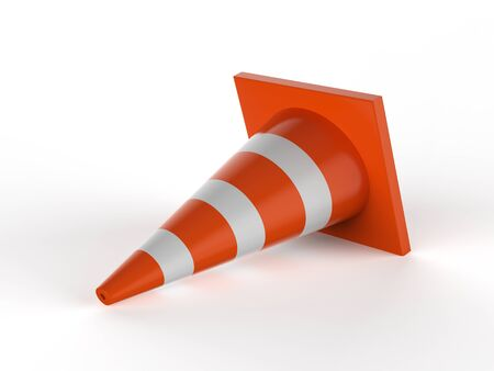 3d rendering traffic cones on white background