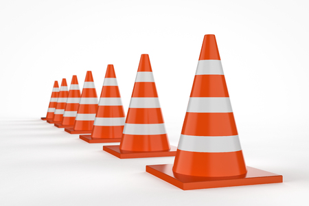 3d rendering traffic cones in a row on white background Stock Photo