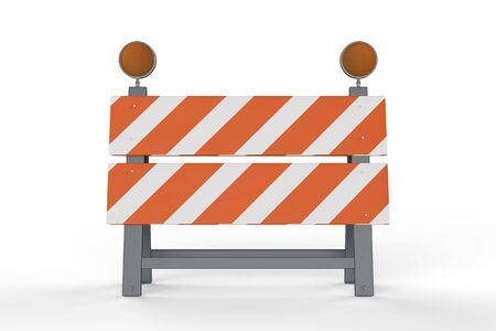 3d rendering construction barrier or road block on white background Stock Photo