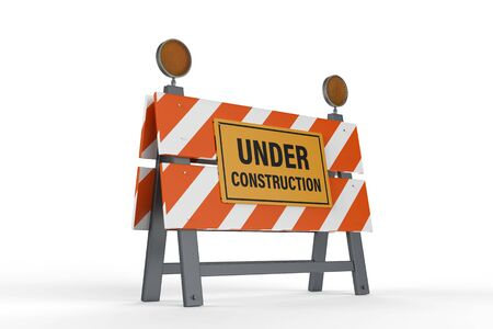 3d rendering under construction sign with road block on white background