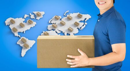 3d rendering delivery man with box on world map Stock Photo
