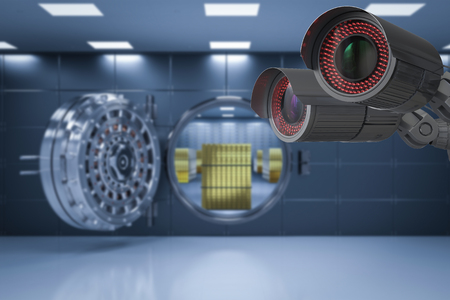 3d rendering security camera or cctv camera in bank vault Stock Photo