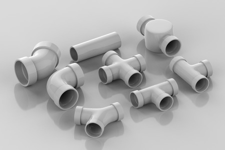 Insieme della rappresentazione 3d dei giunti di tubo su fondo grigio