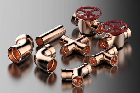 3d rendering copper pipe with pipe joint and valve