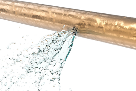 3d rendering leaking pipe with water splash on white background