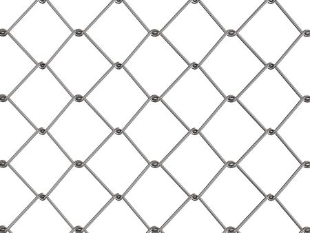 3d rendering metal mesh fence or chain fence isolated on white