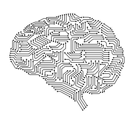인공 지능 뇌 또는 회로 보드의 뇌 형태