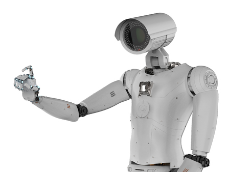 3d rendering robot security camera or cyborg cctv camera Stock Photo