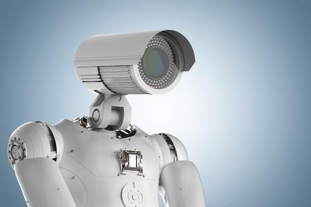 3d rendering robot security camera or cyborg cctv camera Stock Photo