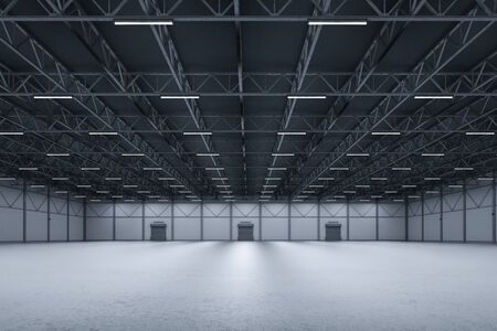 3d teruggevende binnenlandse lege fabriek met neonbuizen
