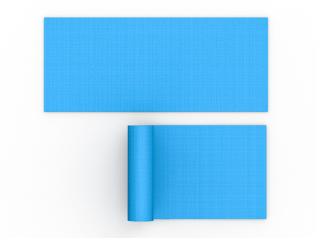 3d Rendering Blue Yoga Mat Top View On White Background Stock Photo