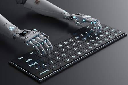 3d rendering robot hand working with computer keyboard Banque d'images