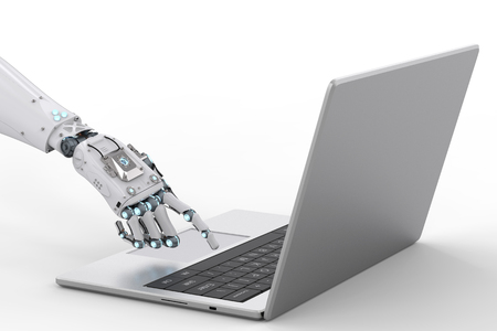 3d rendering robot hand working with computer notebook