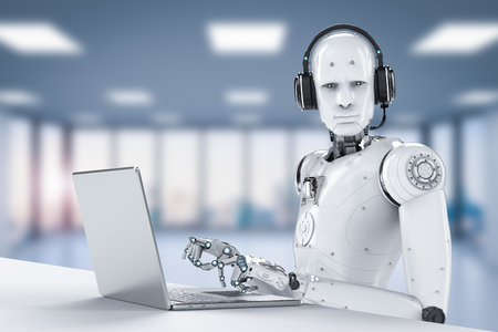 3d rendering humanoid robot working with headset and notebook Фото со стока - 92885903