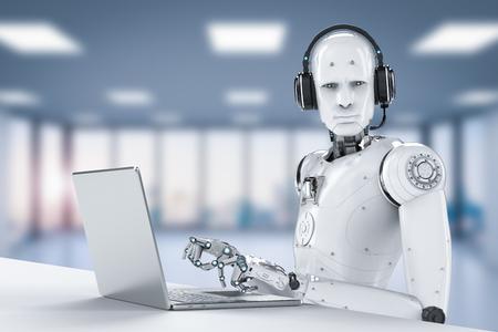 3d rendering humanoidalny robot pracujący z zestawem słuchawkowym i notebookiem
